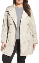French Connection Plus Size Women's Drape Back Trench Coat