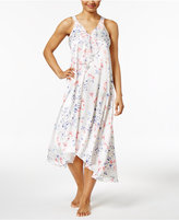 Oscar de la Renta Ruffled V-Neck Printed Charmeuse Nightgown