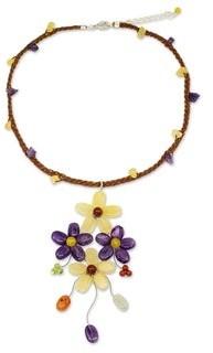 Novica Amethyst Flower Necklace, 'Twilight Bouquet'