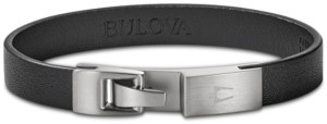 Bulova Men's Leather Bracelet in Stainless Steel