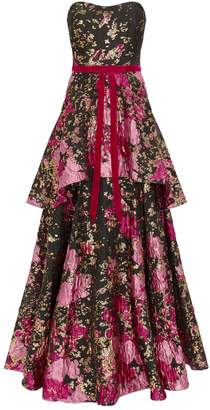 Marchesa Floral Brocade Gown