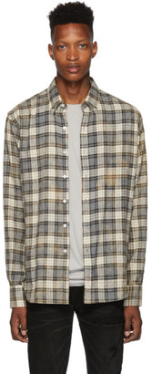 Faith Connexion Grey and Beige Bleached Regular Shirt