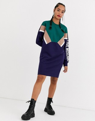 Love Moschino chevron sleeve logo sweat dress