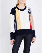 Burberry Contrast-panel chunky-knit wool and cashmere-blend jumper