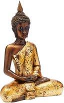 Oriental Furniture Elegant Beautiful Fine Quality Buddhist Art, 16-Inch Large Sitting Golden Thai Buddha Statue Figure with Antiqued Robe