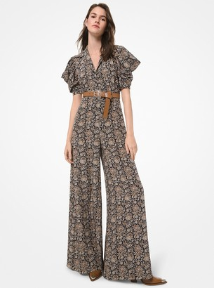 Michael Kors Collection Floral Silk Crepe de Chine Wide-Leg Jumpsuit