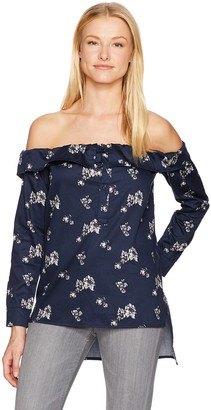 Lucca Couture Women's Charlotte Floral Print Off The Shoulder Button Down Top