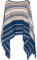 Missoni Fringed Wool-blend Crochet-knit Poncho - Bright blue