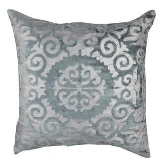"Entryways Gray Velvet Silver Foil Medallion Throw Pillow - 20""x20"""
