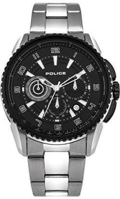 Police Men's PL.93645AEU/02M Quartz Watch with Black Dial Analogue Display and Stainless Steel Plated Bracelet