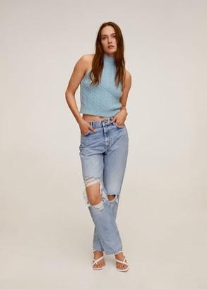 MANGO Knit halter top blue - M - Women