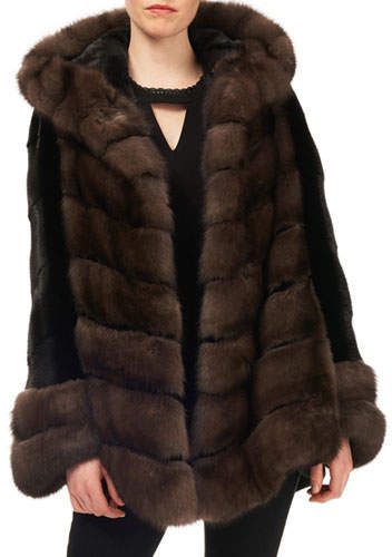 Gorski Sable & Mink-Fur Chevron Jacket w/ Belt