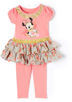 Children's Apparel Network Minnie Mouse Coral Tutu Tee & Pants - Infant & Toddler