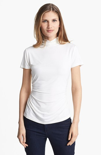 Chaus Ruched Mock Neck Top