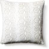 Le-Coterie Reptile 18x18 Suede Pillow, White/Gray