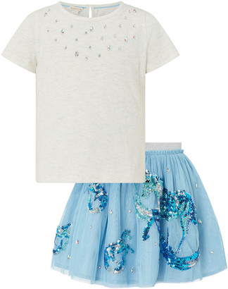 Monsoon Disco Water Horse Sparkle Top and Skirt Set Blue
