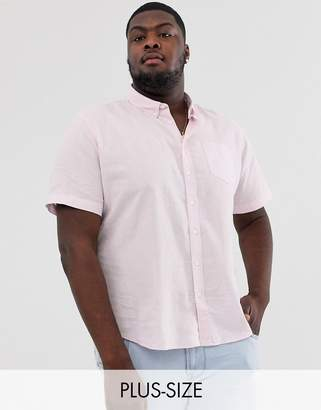 French Connection Plus short sleeve linen shirt-Pink