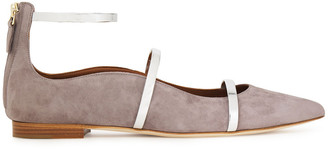 Malone Souliers Robyn Metallic Leather-trimmed Suede Point-toe Flats