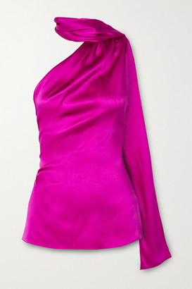 Adam Lippes One-shoulder Draped Silk-charmeuse Top - Magenta
