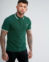 Fred Perry Slim Fit Twin Tipped Polo Shirt Green