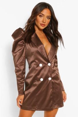 boohoo Satin Puff Sleeve Button Blazer Dress