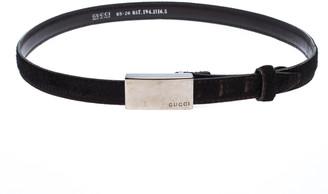 Gucci Dark Brown Fur Narrow Belt Size 65CM