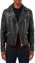 Topman Men's Leather Biker Jacket