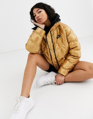 Nike gold high neck padded jacket