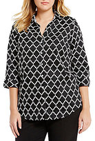 Allison Daley Plus Printed Stretch Sateen Shirting Button Front Blouse