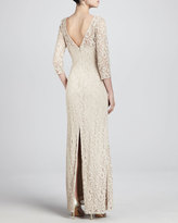 Aidan Mattox Lace 3/4-Sleeve Sheath Gown