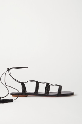 Aquazzura Stromboli Braided Leather Sandals - Black