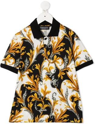 Versace Barocco print polo shirt