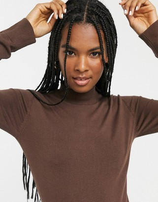Monki round neck long sleeve rib sweater in chocolate brown