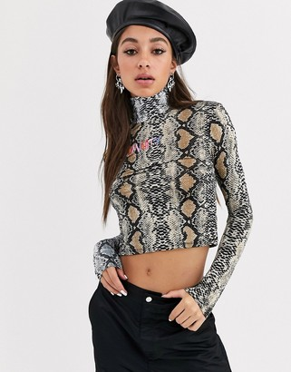 O'mighty O Mighty long sleeve turtle neck top in mixed animal print with embroidered logo