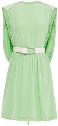 Tibi Cape-effect Belted Silk Mini Dress