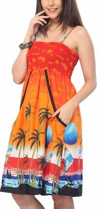 LA LEELA Smooth Cruise Sun Women Plus Bikini Swimsuit Beach Cover up Casual Dress Sundress Maxi Skirt Sleeveless Backless Strap Side Pockets Bandeaux Loungewear Dress Pumpkin Orange Ladies