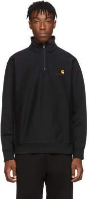 Carhartt Work In Progress Black Half-Zip American Script Sweatshirt