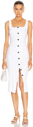 Enza Costa Military Cotton Rib Button Front Midi Dress in White | FWRD