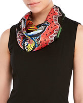 Christian Lacroix Printed Woven Silk Fringe Scarf