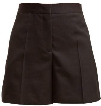 Jil Sander Gaetano High Waisted Wool Shorts - Womens - Black