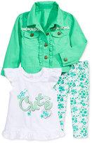 Nannette 3-Pc. Jacket, Top & Leggings Set, Baby Girls (0-24 months)
