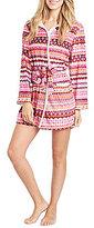 Kensie Fair Isle Holiday Microfleece Hooded Wrap Robe