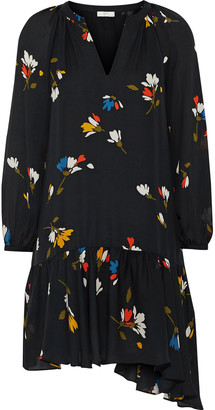 Joie Agrafena Floral-print Silk Crepe De Chine Mini Dress