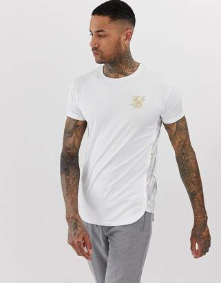 SikSilk t-shirt in with white marble print