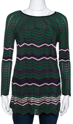 M Missoni Green Pointelle Knit Long Sleeve Top S