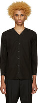 Undecorated Man Black Poplin V-Collar Shirt