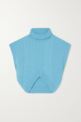 ANDERSSON BELL Kyla Cropped Cable-knit Turtleneck Wool Vest - Sky blue