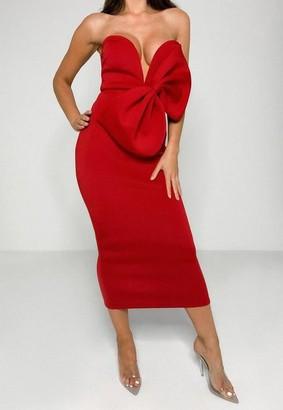Missguided Red Scuba Bow V Bar Midi Dress