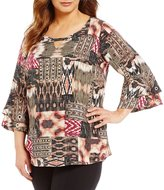 Intro Plus 3/4 Ruffled Sleeve Grommet Embellished Tie-Dye Print Top