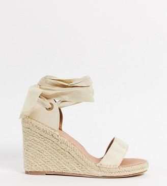 ASOS DESIGN Wide Fit Treat tie-leg espadrille wedge sandals in natural